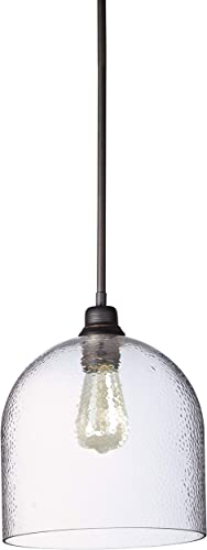 Amazon Brand Stone Beam Modern Metal and Hammered Glass Ceiling Pendant Chandelier with Light Bulb – 10 Inch, Bronze