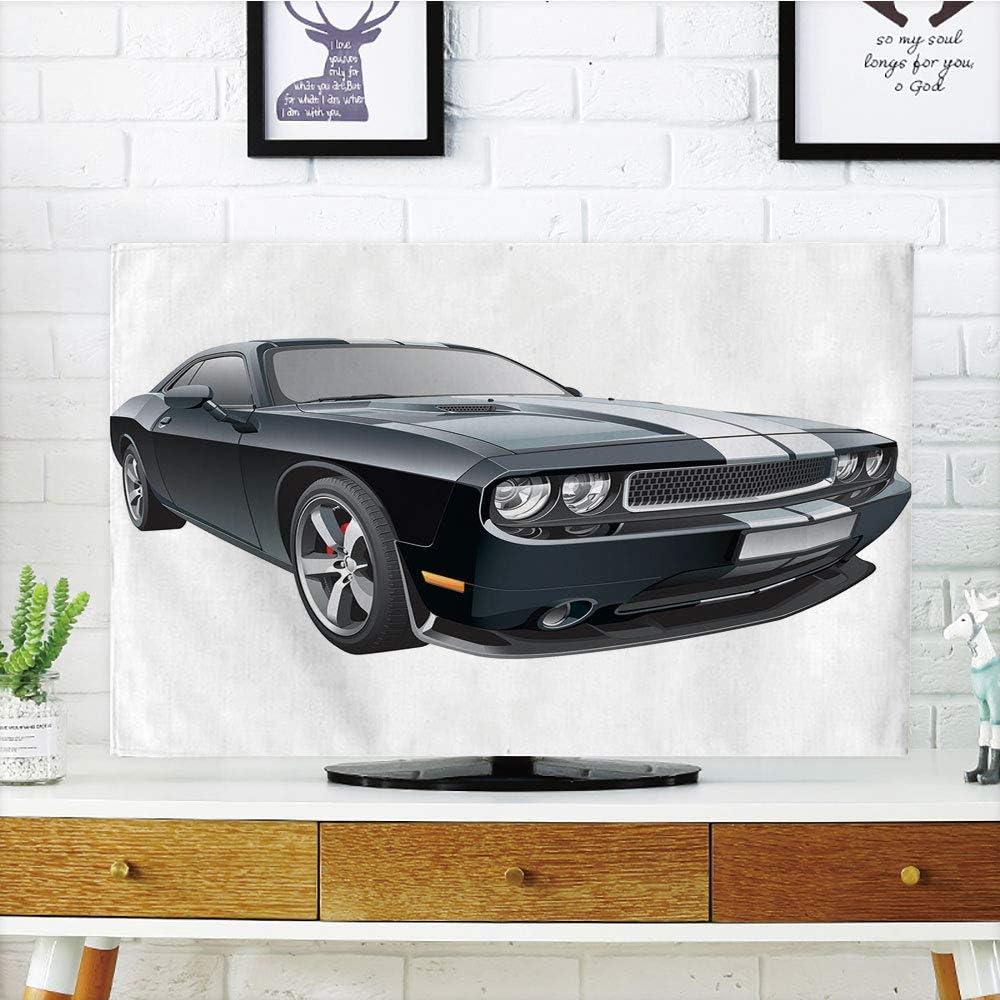 iprint Funda para televisor LCD, diseño Abstracto con Coches Vintage en el Aire con patrón de Nubes de vehículos Antiguos, Color Azul pálido y Verde Azulado, Compatible con televisores de 32 Pulgadas: