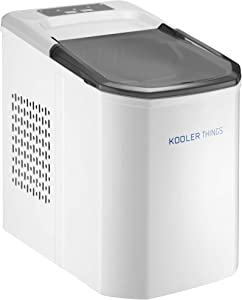 Self-Cleaning Portable Electric Countertop Ice Maker Machine With Handle, 9 Bullet Ice Cubes Ready in 7 minutes, Up to 26lbs in 24hrs WIth Ice Scoop & Basket