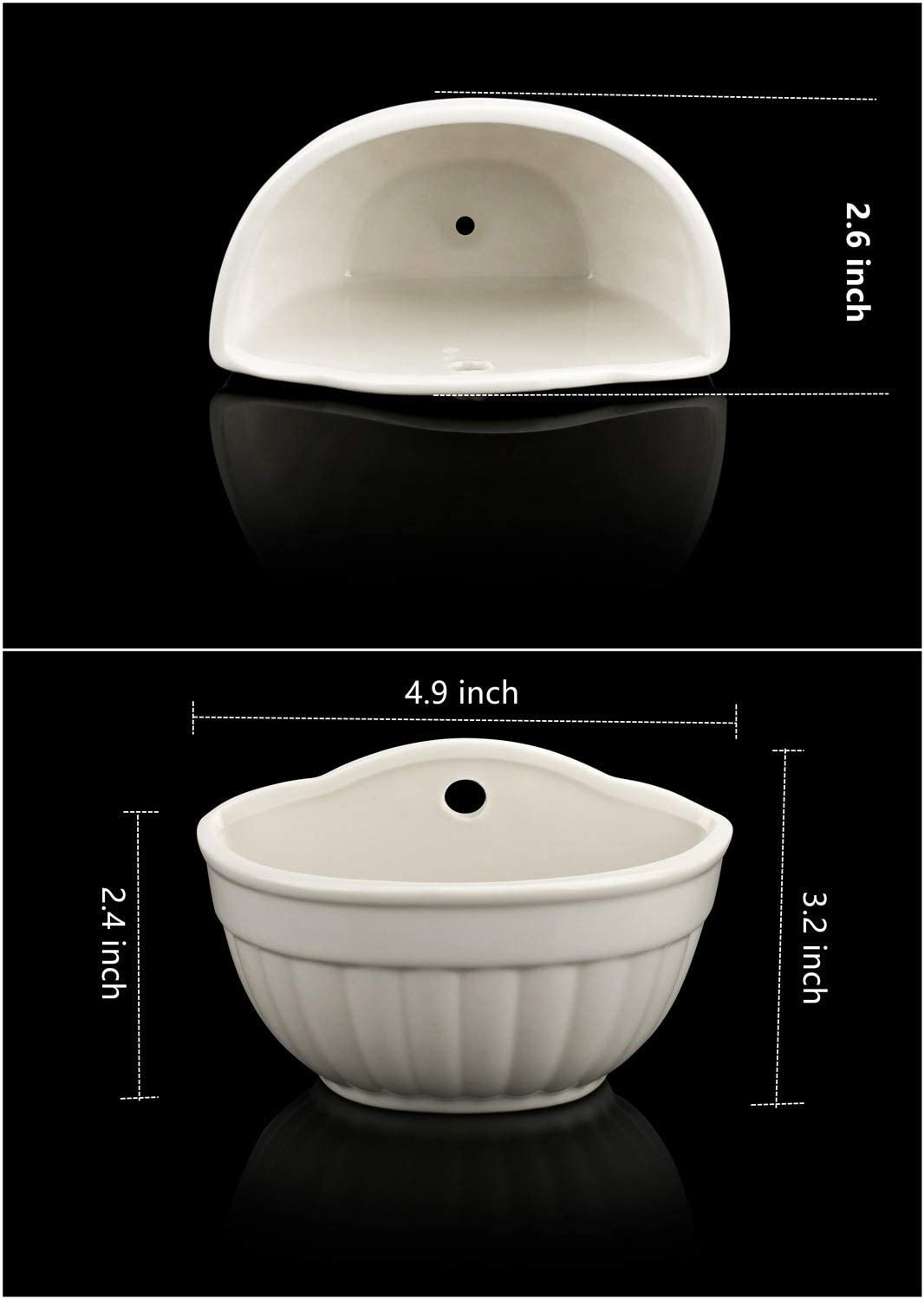 Ceramic Wall Planter,Modern Sector Hanging or Freestanding Succulent Pots YISEEK Mini White Wall Mountable Flower Plant Vase Bottom Drain Hole, Matching Hole Plug