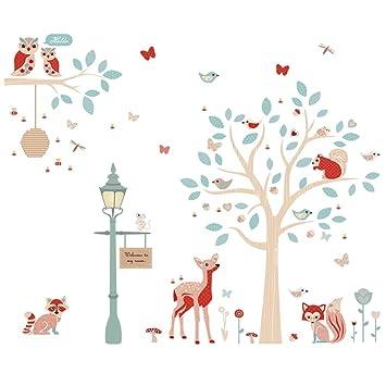 ufengke Stickers Muraux Animaux de la Forêt Autocollant Mural Arbre Cerf  pour Chambre Enfants Bébé Décoration Murale