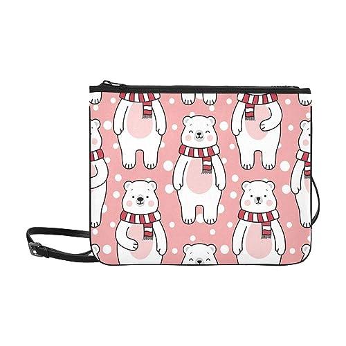 WYYWCY Lindo oso de dibujos animados de los osos polares de alta calidad de nylon delgado bolso de embrague bolso cruzado cuerpo bolsa de hombro: Amazon.es: ...