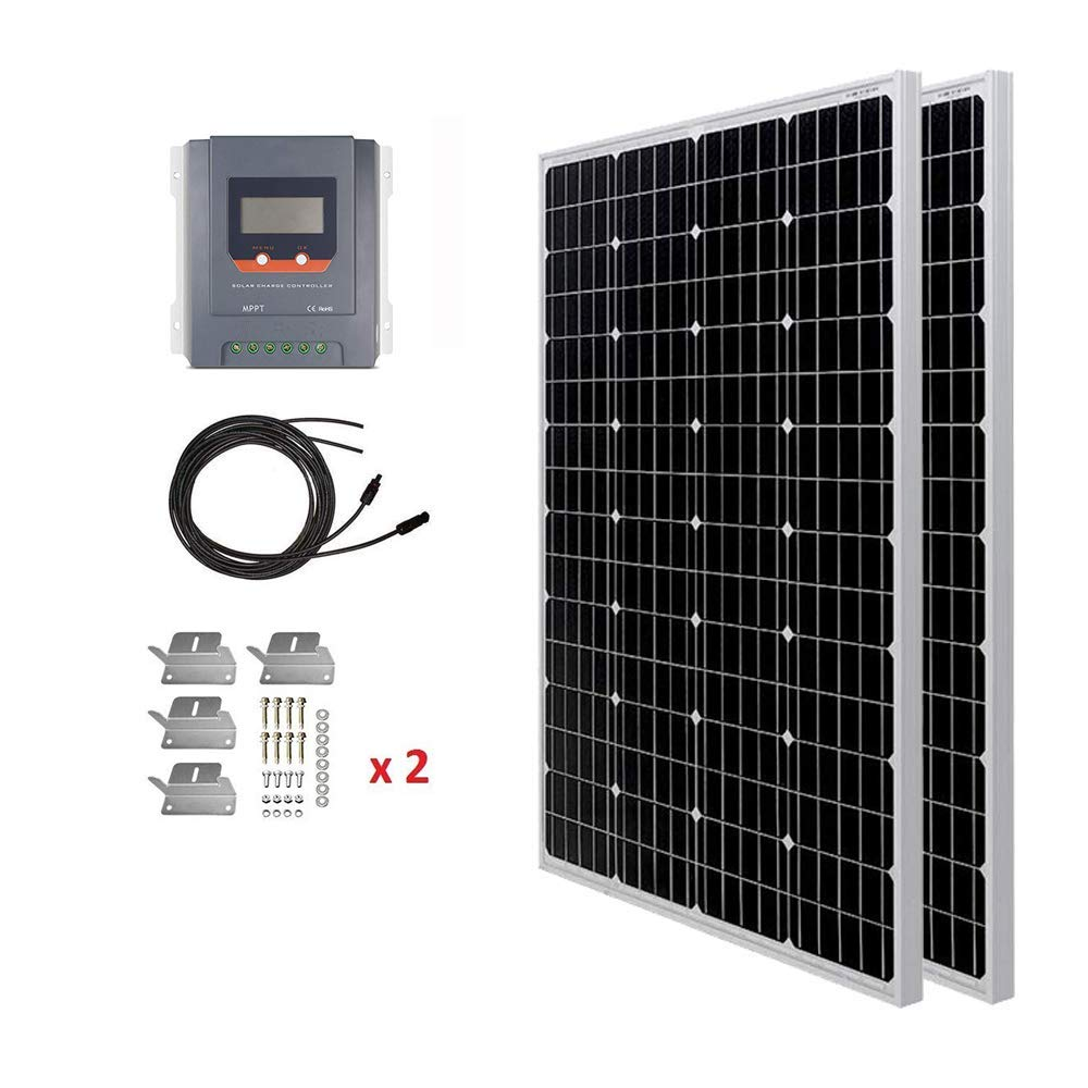 Hqst 200 Watt 12 Volt Monocrystalline Solar Panel Kit With 30a Mppt Charge Controller Amazon In Garden Outdoors