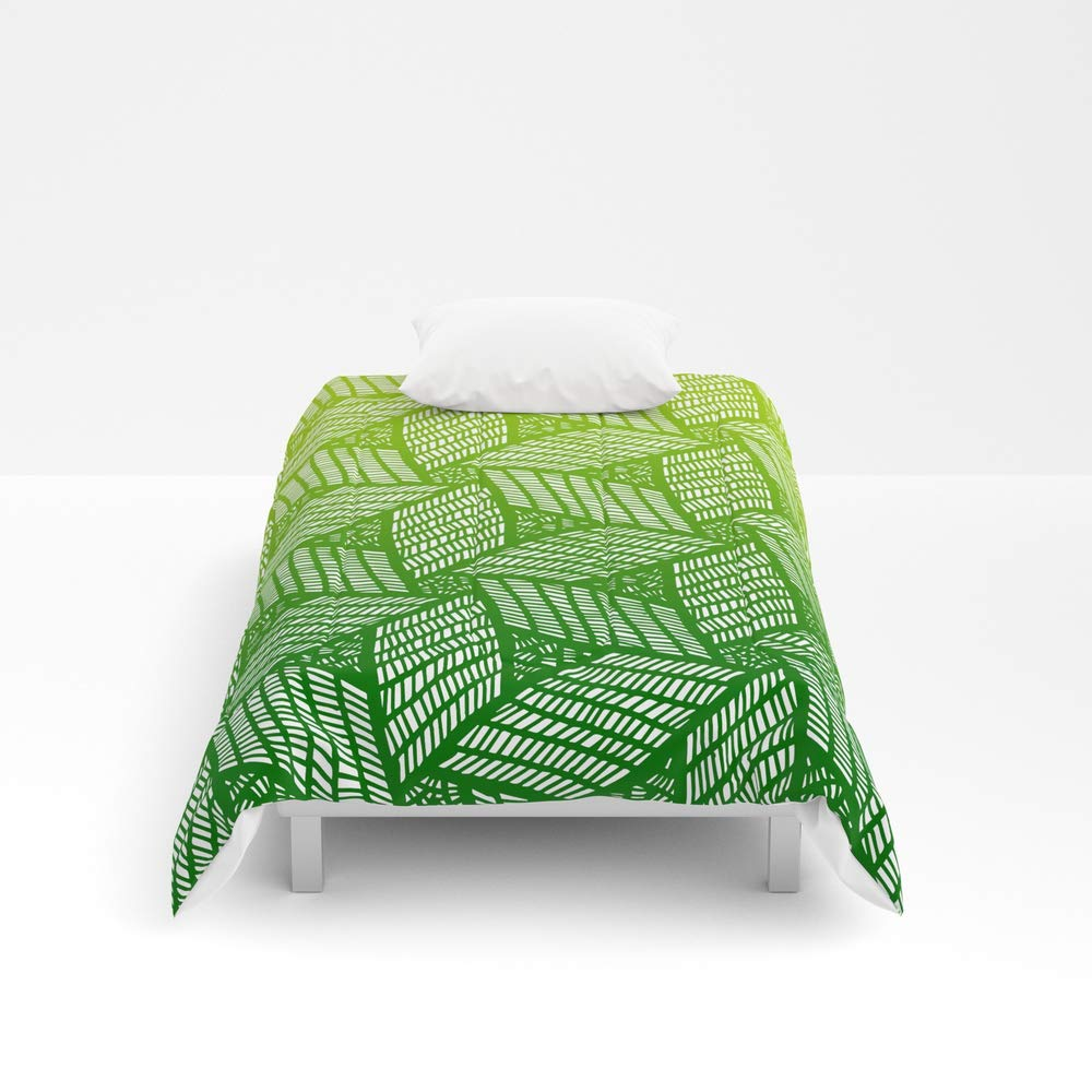 Society6 Comforter, Size Twin: 68'' x 88'', Japanese Style Wood Carving Pattern in Green by mariamahar