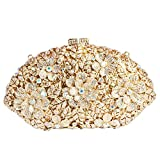 Digabi Flowers Fan-shaped Women Crystal Evening Clutch Bags (One Size : 7.84.52.4 IN, white crystal-gold plated)