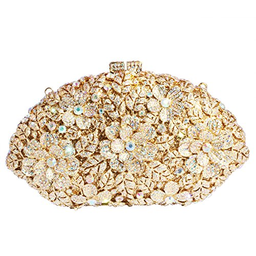 Digabi Flowers Fan-shaped Women Crystal Evening Clutch Bags (One Size : 7.84.52.4 IN, white crystal-gold plated) by Digabi