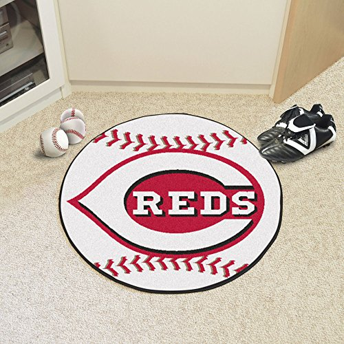 MLB Cincinnati Reds Baseball Round Shaped Accent Rug
