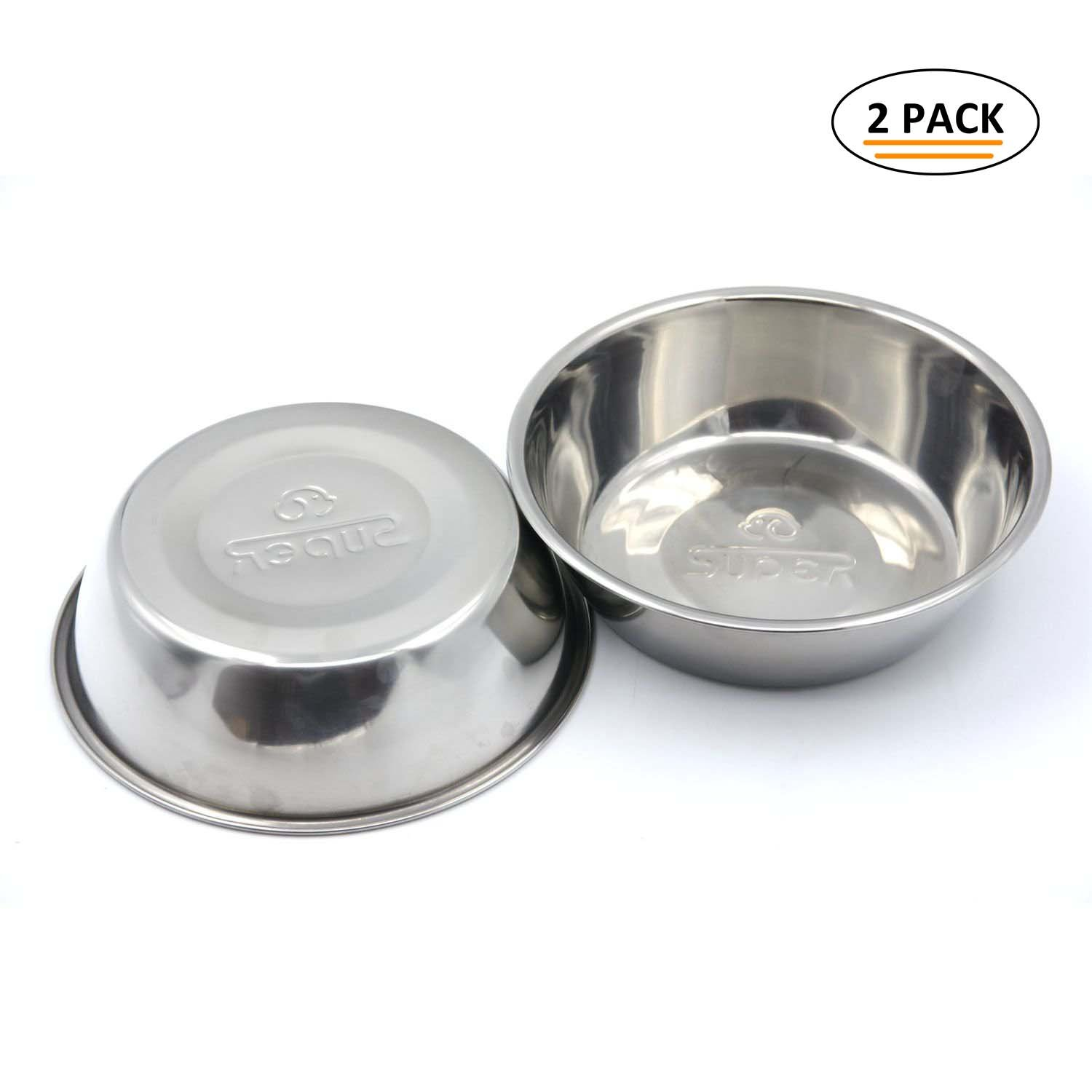 Super Design Stainless Steel Pet Bowl Package for Dogs and Cats, 1 Pack of 2, M