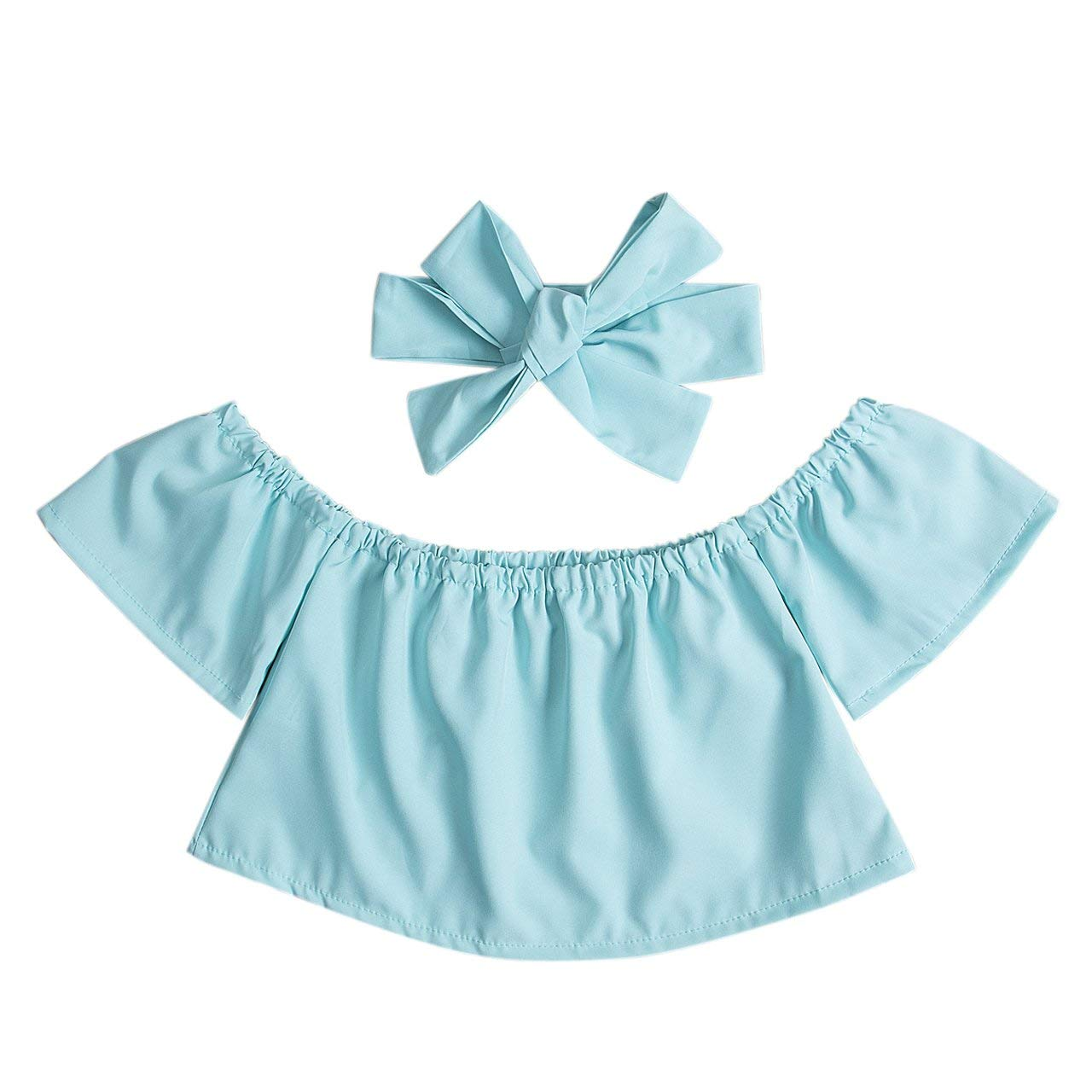 Greatgorgeous Cute Baby Girls Solid Off Shoulder Elastic Fashion Blouse Bow Headband Set 2pcs