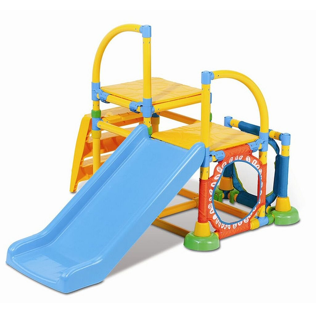 Climb 'n Slide Multicolor Gym - Kids Can Crawl Through Spaces, Climb Stairs, Slide, Balance And Develop Eye-Hand Coordination With The Ball Toss