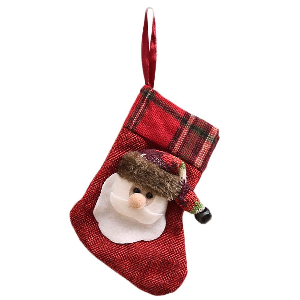 Jeffyo 1 pz Calza di Natale con Renna Pupazzo di Neve Babbo Natale Decorazione in Tartan 14 x 7, 9 cm/14 x 8 cm Renna Reindeer 9cm/14x 8cm Renna Reindeer