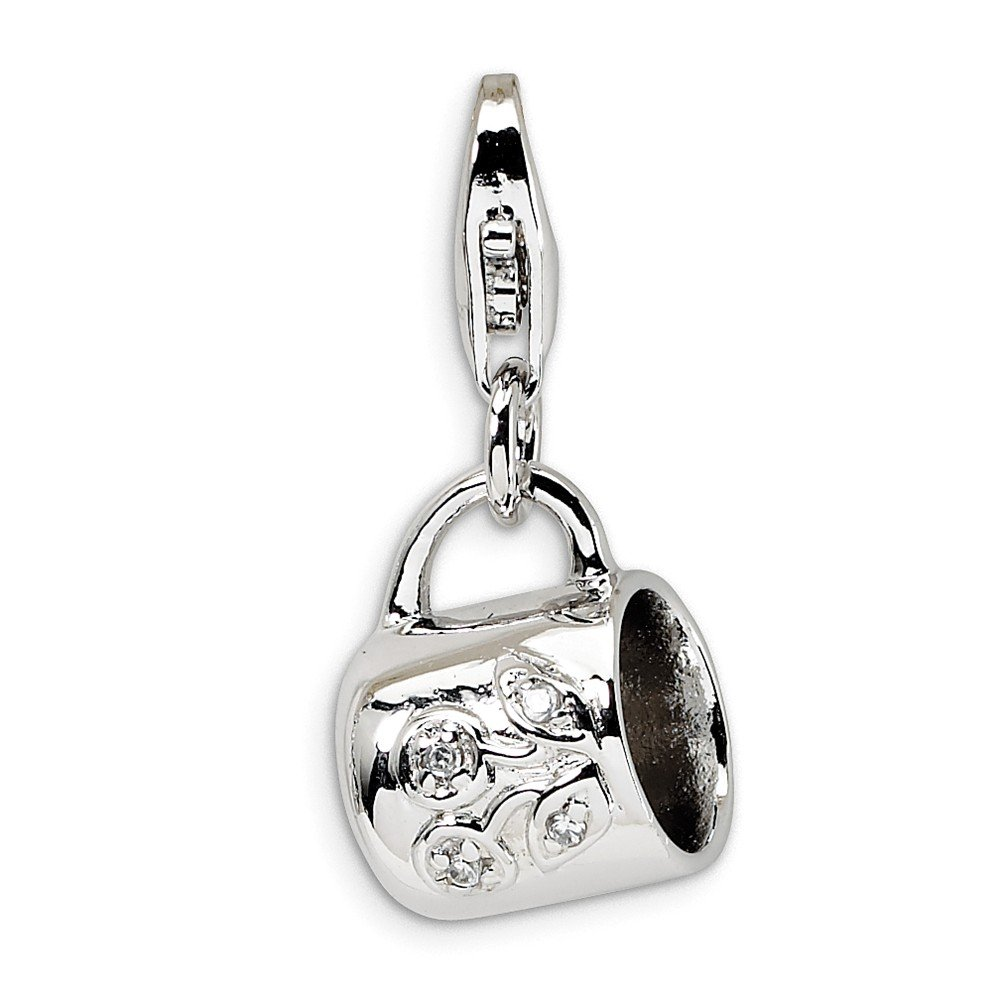 Jewel Tie 925 Sterling Silver Baby Cup with Lobster Clasp Pendant Charm 11mm x 32mm