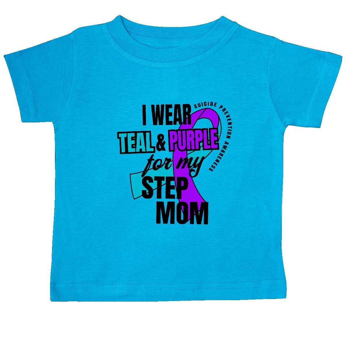 inktastic Suicide Prevention I Wear Teal and Purple for My Step Mom Baby T-Shirt