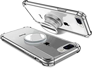 iPhone 7 Plus/8 Plus Clear Case with Stand Premium Soft TPU Protective Shockproof Case with Kickstand Grip Iron Mirror Fit Car Mount iPhone 5.5 Inch for Women Men Girls Boys Students Best Gift (Clear)