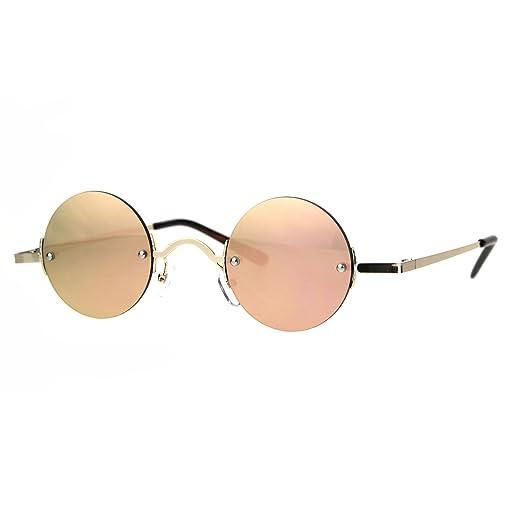 26993e63a7 Color Mirror Hippie Round Circle Lens Rimless Pimp Sunglasses Gold Pink