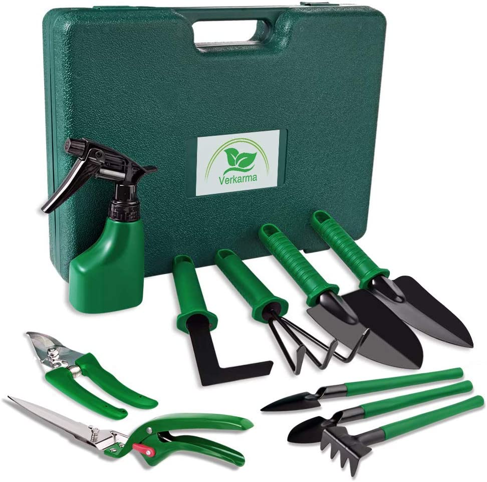 Verkarma Garden Tools Set, 10 Piece Portable Stainless Steel Gardening Tools Sets with Mini Garden Hand Transplanting Succulent Tools, Gardening Gifts for Women Men