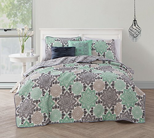 Avondale Manor Greer 5 Piece Quilt Set, Queen, Grey/Mint