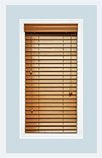 Custom Made Premium Real Wood Horizontal Window Blinds 2 Slats Golden