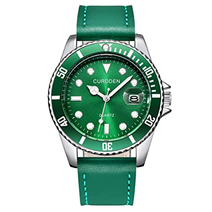 Amazon.com : XBKPLO Quartz Watches Mens Fashion Waterproof Analog Wrist Watch Mechanical Calendar Window Leather Strap Business Watch Jewelry Gift : Pet ...