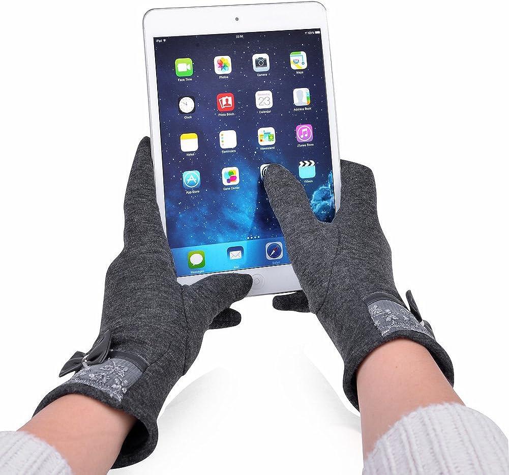 Vbiger Guantes de pantalla t/áctil Guantes c/álidos Flocado Guantes con cordones Guantes Lindo