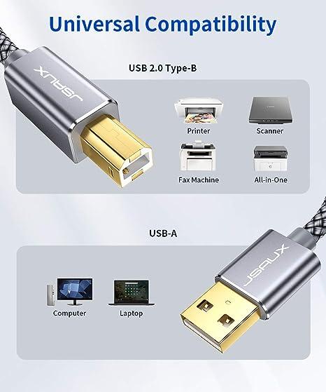JSAUX Cable Impresora [4.5M] Cable Impresora USB Tipo B 2.0 Compatible para Impresora HP, Epson,Canon,Brother,Lexmark,Escáner,Disco Duro,Fotografía Digital y Otros Dispositivos-Gris: Amazon.es: Electrónica