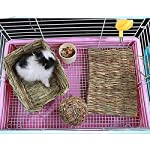 Grass Mat Woven Bed Mat for Small Animal Bunny Bedding Nest Chew Toy Bed Play Toy for Guinea Pig Parrot Rabbit Bunny Hamster Rat(Pack of 3) (3 Grass mats) 13