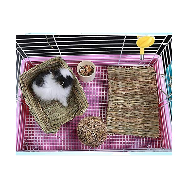 Grass Mat Woven Bed Mat for Small Animal Bunny Bedding Nest Chew Toy Bed Play Toy for Guinea Pig Parrot Rabbit Bunny Hamster Rat(Pack of 3) (3 Grass mats) 5
