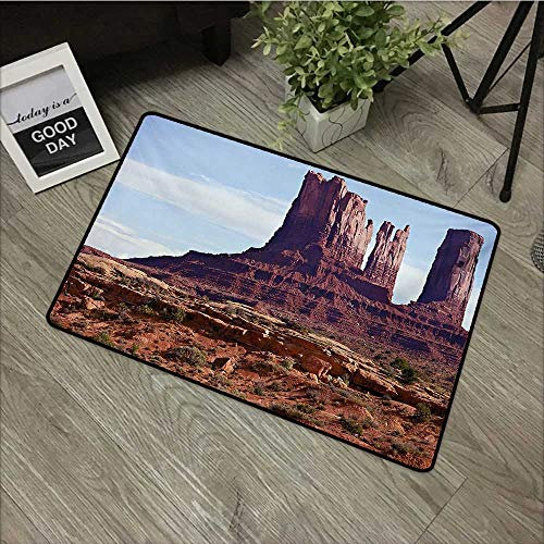 Red Rug Grand Trunk - Corridor Door mat W35 x L47 INCH Landscape,Famous Monumental Valley Grand Canyon and Red Rocky Cliffs USA Arizona Photo Print,Brown with Non-Slip Backing Door Mat Carpet