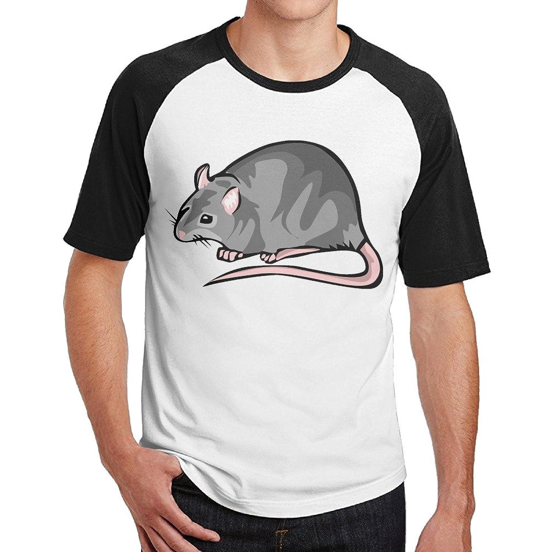 IKOU Rat Pattern Men Short Sleeve Baseball Raglan Shirt Black S
