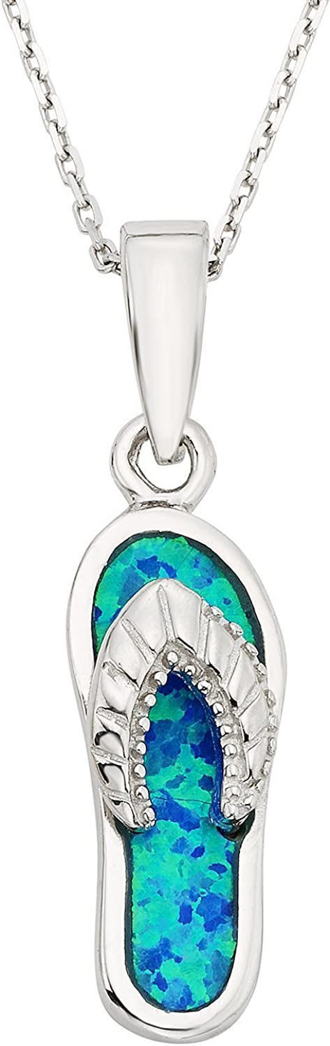 "Sterling Silver and Gold Tone Created Blue Opal Flip-flop 18"" Pendant Necklace"