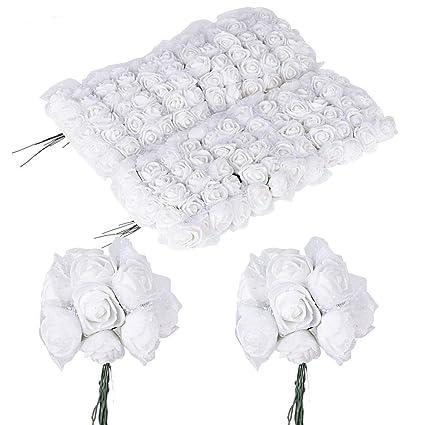 144 pcs Silver Mini RIBBON CRAFT ROSE Wedding Party Reception Decorations SALE