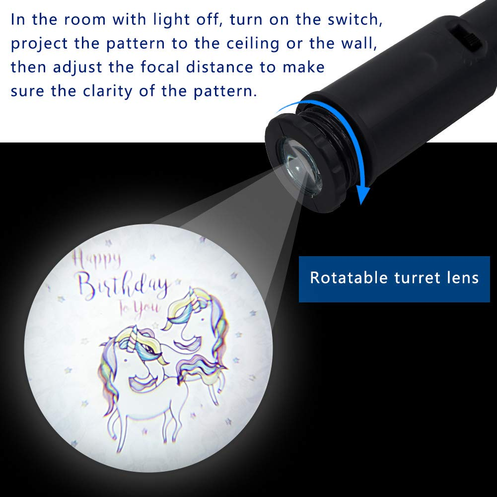MJ PREMIER Projector String Lights with Unicorn Pattern Birthday Party Decorations Cork Lights with Project Function Battery Operated