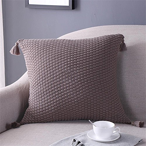 EnjoyBridal Cotton Knitted Pillowcase Bed,Sofa,Car Square Warm Pillow Covers with Pendant, 45x45CM Throw Sweater Pillow Cases Decorative,Soft Cover Only (45x45cm, Coffee) (Cover Sweater)