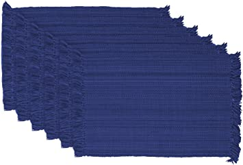 Amazon Com Dii Variegated 100 Cotton Ribbed Placemat 13 By 19 Inch Nautical Blue Furniture Decor