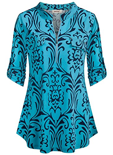 BEPEI Tunic Shirts for Women,Summer Cuffed Short Sleeve Collarless V Neck Ruffle Flared Top Retro Floral Hawaiian Blouses Misses Chiffon Designer Pretty Lovely Shirt for Vacation Holiday Turquoise L