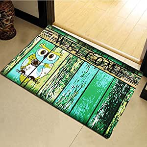 Grace Home Printing Fall Winter Decorative Mat Indoor/Outdoor Welcome Doormat Owl/Leaf/Merry Christmas Theme Mat (Owl)