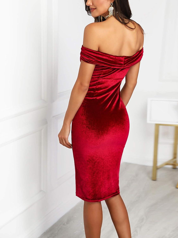 DUBACH Women Fashion Off Shoulder Ruched Velvet Party Dress