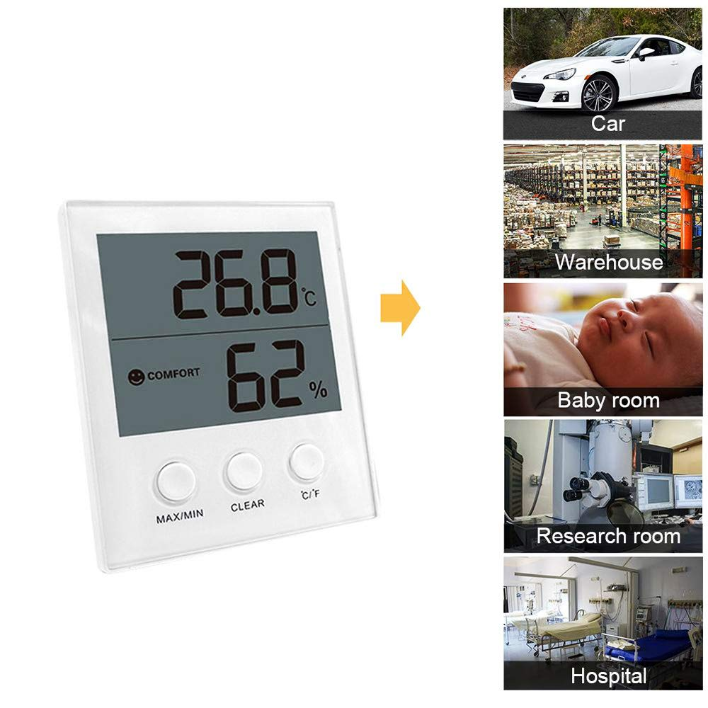 QYY Wireless Digital Hygrometer, Indoor Outdoor Thermometer Monitor, Large Screen Display Temperature and Humidity Sensor with Memory Function 200Ft/60M Range