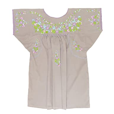 aacdc1693e876 Mexican Clothing Co Womens Mexican Blouse Traditional San Antonino Poplin  Small Beige 4104