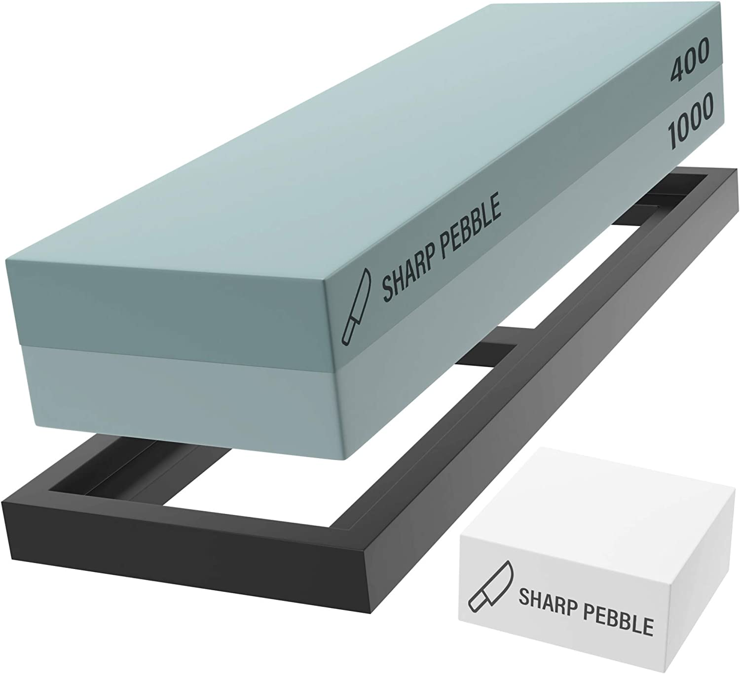 Sharp Pebble Premium Whetstone Sharpening Stone 2 Side Grit 400/1000-Whetstone Knife Sharpener with Flattening Stone & NonSlip R