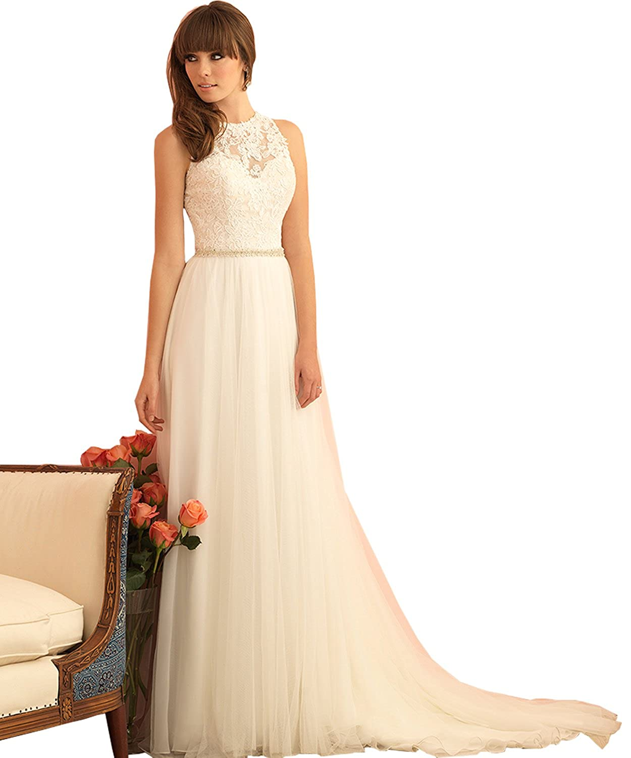 Womens High Neck A Line Formal Tulle Lace Wedding Dress For Bride