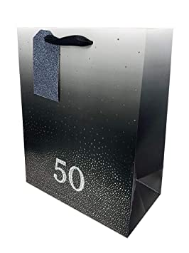 50th Birthday Bag Gift Large Men Women Age Black Luxury Present Wrap 50 Diamante