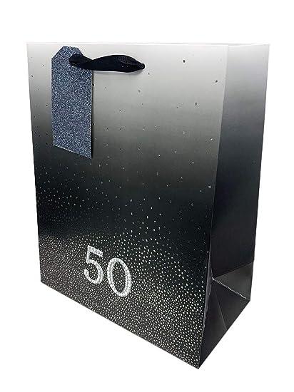 Bolsa de regalo para 50 cumpleaños para hombres y mujeres, color negro, 50 diamantes