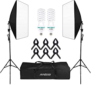 Andoer Photography Softbox Lighting kit Continuous Lighting System Photo Studio Equipment with 2pcs 135W E27 LED 5500K Lighting Bulbs for for Photo, Video, Portrait and Product Shooting