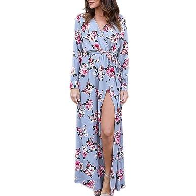 Yesmile 💋💝Vestido de Mujer Vestido Largo Vestido de Estampado Vestido Elegante de Noche para Boda Vestido de la Playa de la Impresión Vestido Atractivo de ...