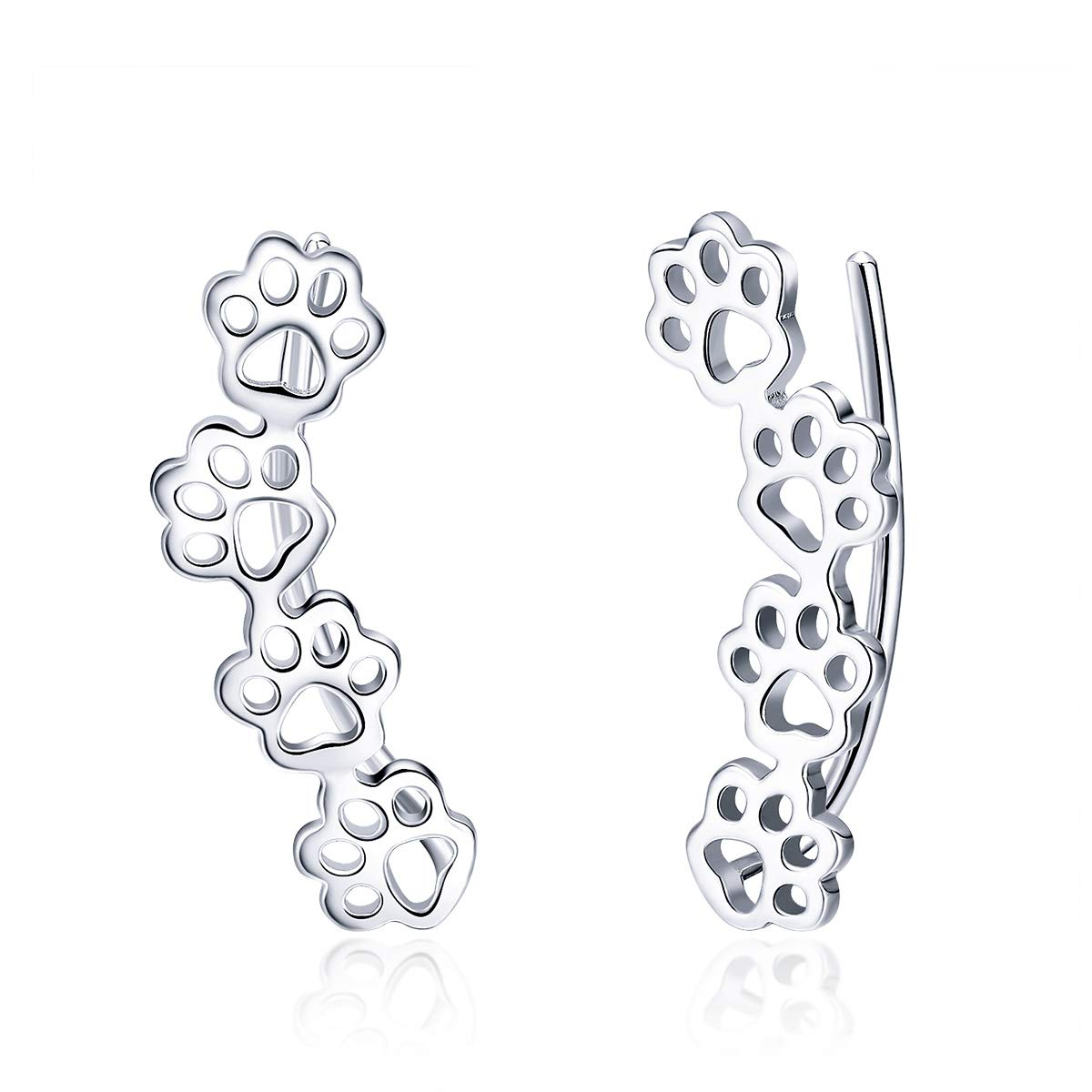 BISAER Paw Ear Crawler 925 Sterling Silver Stud Ear Climber, Cute Cuff Hook Earrings Hypoallergenic Earrings for Women Teen Girls Birthday Christmas Day Gifts