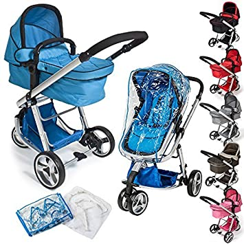 TecTake 3 en 1 Sillas de paseo coches carritos para bebes convertible - disponible en diferentes colores - (Azul | no. 400828)