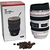 Coffee/Travel Mug - Caniam Novelty Camera Lens Shape/Perfect Gift for Photographer & Photography Buff. Stainless Steel Inner - Keep Drinks Warmer/Cooler (White)