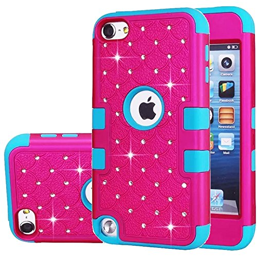 ipod Touch 5 Case,ipod Touch 6 Case,Auker Heavy Duty Shockproof Bling Mermaids Scales Dual Layer [Soft Silicon+Hard PC Shell] Hybrid Protective Case Cover for ipod Touch 5th/6th Generation (Ipod Iphone Silicon Case)