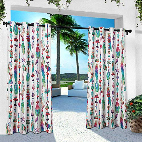leinuoyi Feather, Outdoor Curtain Waterproof, Marine Accessory Chains Pendants Mineral Stones Shells Beads Watercolor Style Art, Outdoor Curtain Panels for Patio Waterproof W72 x L108 Inch Multicolor - Pendant Ashbury